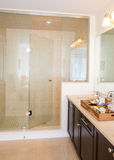 Frame-less glass shower stall in new bathroom Royalty Free Stock Photography
