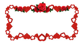 Frame with glitter hearts and red rose flowers Royalty Free Stock Photos