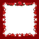 Frame with glitter hearts and red rose flowers Stock Photography