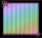 Frame with glittered hearts and rainbow background. Black plastic frame with heart shaped decorations and rainbow wavy background vector illustration