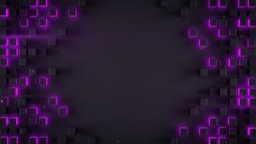 Frame of glowing purple cubes 3D render. Frame of glowing purple cubes. Futuristic surface with hexagonal shapes. 3D render stock illustration