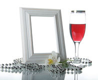 Frame, Goblet And Orchid Stock Photos