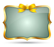 Frame Gold with bow ribbon Stock Photography