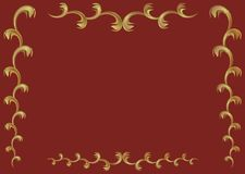 Frame from gold branches. Vector background claret with the frame from gold branches stock illustration