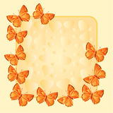 Frame with gold butterflies and hearts vector Royalty Free Stock Image