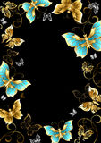 Frame with gold butterflies. Frame with gold, jewels and butterflies on a black background. Design with butterflies. Golden Butterfly vector illustration