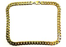 Frame of gold chain. Gold chain on white background Stock Photos