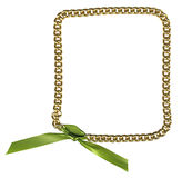 Frame from gold chainlet with green ribbon Royalty Free Stock Image