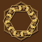 Frame gold color with shadow Royalty Free Stock Photos
