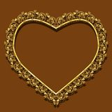 Frame in the shape of heart gold color with shadow Royalty Free Stock Photos