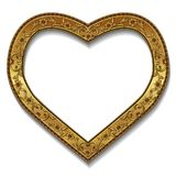 Frame in the shape of heart gold color with shadow Royalty Free Stock Image
