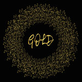 Frame of gold confetti. Golden circles on a black background.  Stock Photos