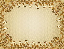 Frame with gold embossed pattern Royalty Free Stock Images