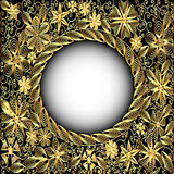 frame gold(en) with floral pattern Royalty Free Stock Image