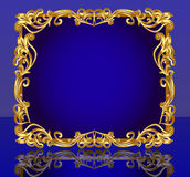 Frame  with gold(en) pattern and reflection Royalty Free Stock Photos