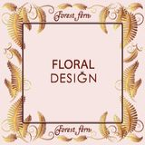 Frame with a gold fern. Poster, postcard with flower leaves and place for text. The image can be used to decorate weddings, theme cards, invitations, monograms Royalty Free Stock Images