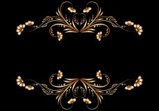 Frame of gold floral patterns Royalty Free Stock Photography