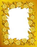 Frame - Gold Flowers Stock Photography