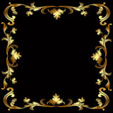 Frame with gold pattern on black Royalty Free Stock Photos