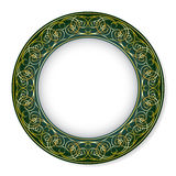 Frame with gold pattern on a green background Stock Photography
