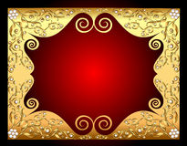 Frame gold with pattern by pearl Stock Image