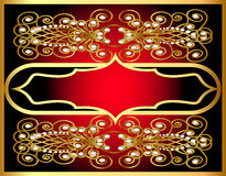 Frame with gold by pattern and pearl Royalty Free Stock Photos
