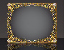 Frame  with gold pattern with reflection Stock Photography
