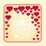 Frame gold and red heart vector Stock Photography