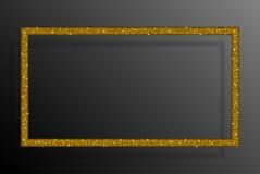 Frame Gold Sequins Rectangle. Glitter, Sparkle. Stock Photo