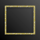 Frame Gold Sequins Square. Glitter, sparkle. Royalty Free Stock Image