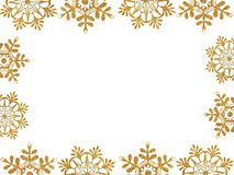 Frame of gold snow stars Stock Photos