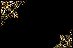Frame golden. Illustrated golden ornament good for  frame,  decorative border, with black background. See the rest in the series as well Stock Photo