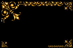 Frame golden. Illustrated golden  frame,  decorative border with black background. See the rest in the series as well Stock Photo
