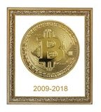 Frame with golden bitcoin. Vintage ornate frame with symbolic golden coin of bitcoin crypto currency, new digital money in cyber world, isolated on white stock photo