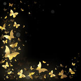 Frame of golden butterflies. Frame with gold butterflies on a black background Royalty Free Stock Photos