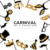 Frame with Golden Carnival Masks Stock Photography