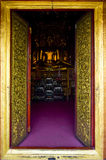 Frame golden door temple in nan thailand Royalty Free Stock Photos