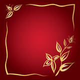 Frame of golden flowers on a red background. Greeting card with golden flowers and frame on the red background Stock Photos