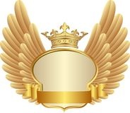Frame. Golden frame with crown and wings Stock Photos