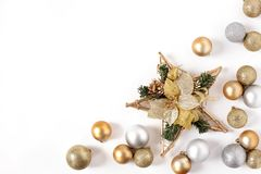 Frame Golden and Silver Balls, Christmas star Top view White Background Christmas. New Year stock image