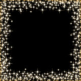 Frame with golden stars on the black background, sparkles golden symbols  - star glitter, stellar flare Royalty Free Stock Photos