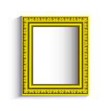 Golden vector frame with swirls on a white background Royalty Free Stock Image