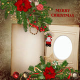 Frame with gorgeous Christmas decorations on vintage background Royalty Free Stock Images