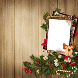 Frame with gorgeous Christmas decorations on wooden background Stock Images