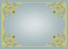Frame with graceful angles. Frame with graceful green and yellow angles on a gray background stock illustration
