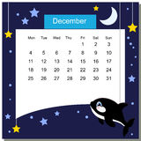 Frame with grampus. Calendar 2017. December. Week Starts Monday Royalty Free Stock Photo