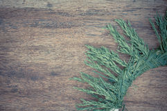 Frame from grass on aged wooden background. Selective focus. Pla Royalty Free Stock Photo