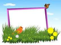 Frame in the grass, cdr vector Royalty Free Stock Photography