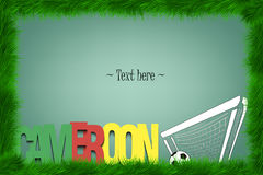A frame of grass with the word Cameroon and a soccer ball at the Royalty Free Stock Images