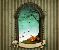 Frame gravestone. Illustration or poster or greeting card Happy Halloween with frame headstone and banner. Computer graphics Stock Images